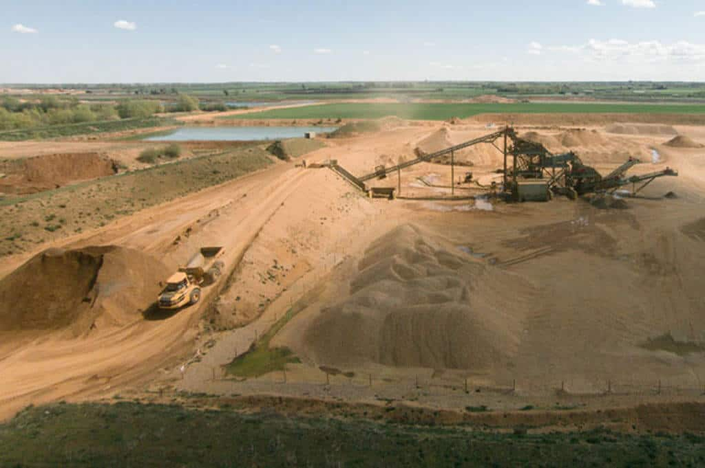 Construction site image - where volumetric surveys provide data for productivity