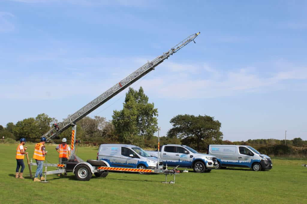 Sky's Time lapse masts being set up in field