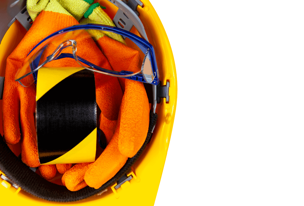 construction equipment - hat, tape, safety glasses, gloves