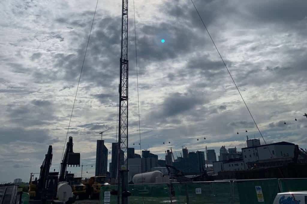 time lapse mast set up over city