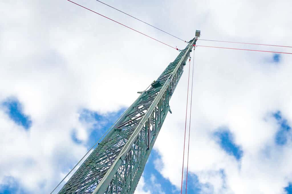 close up of time lapse mast being erected